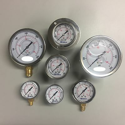 Pressure Gauge 50mm 63mm 100mm Dial Bottom & Back Connection Pneumatic Air Range