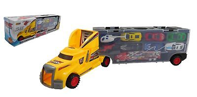 Car Transporter Vehicle And 12 Mini Die Cast Cars Truck Toy Carry Case And Track