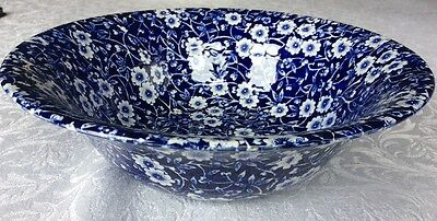 "Burleigh Calico Blue Large Serving Bowl Dish 8.25"" 21cm"