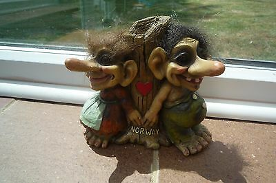 Norway Troll Figures with Original Verdal Stamp label Beautiful!