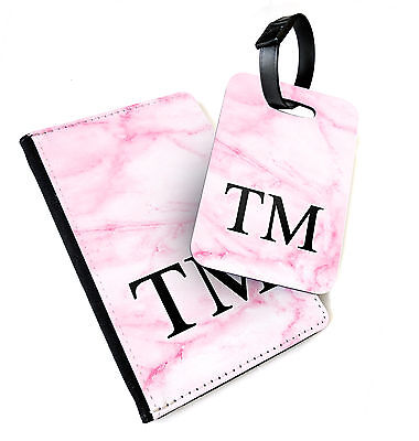 Pink Marble Monogram | Printed Passport Cover & Luggage Tag | Personalised