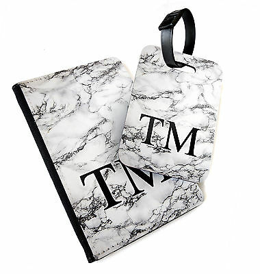 White Marble Monogram | Printed Passport Cover & Luggage Tag | Personalised