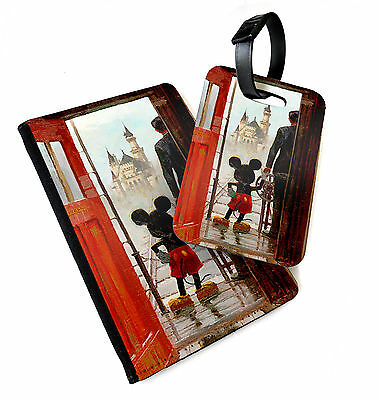 Mickey Holding Hands   Printed Passport Cover & Luggage Tag   Mouse Walt Disney