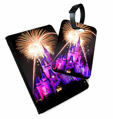Disney Castle Fireworks   Printed Passport Cover & Luggage Tag   Land World