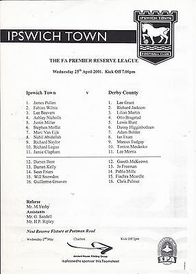 Ipswich Town V Derby County Reserves Fa Premier Reserve Lge 25/4/2001