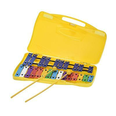 Colorful 25 Notes Glockenspiel Xylophone Instrument Toy with 2 Mallets O7L0
