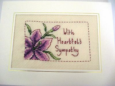 Sympathy Card Completed Cross Stitch 8x6""