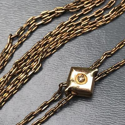 Old Victorian 10kt gold Slide Diamond Chip Gold Fill Watch Fob Chain Necklace