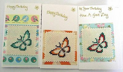 Birthday Cards Pack of 3 Completed Cross Stitch Butterflys 6x4""