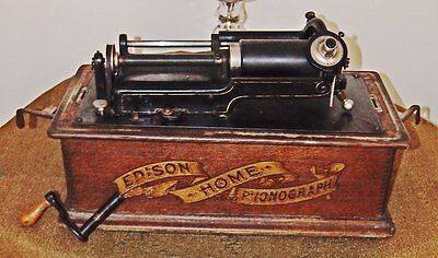 antique Edison Home Phonograph Wax Cylinder Player with curved cover 1908 Dated