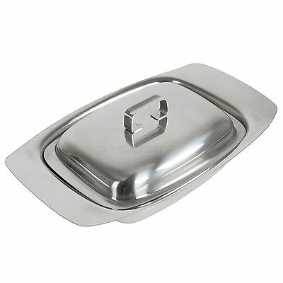 Butter Dish Stainless Steel Tray Holder  With Lid Serving Storage Kitchen