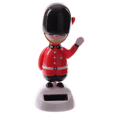 Queens Guard Military Soldier Guardsman Waving Solar Powered Funny Decoration