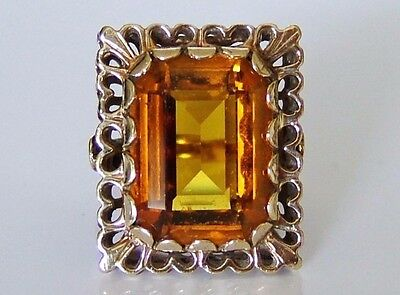 Beautiful Vintage 9ct Gold Yellow Topaz Cocktail Ring Size M 8g