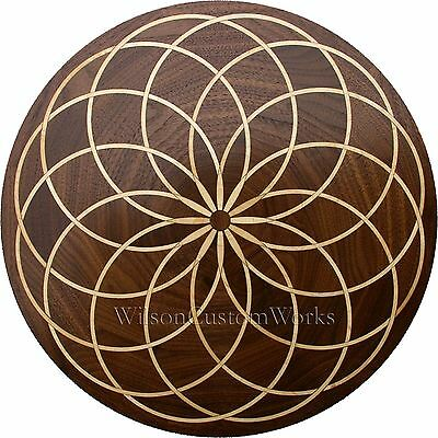 "24"" Assembled Wood Floor Medallion Inlay 145 Piece Spyro Loop Flooring Table Box"