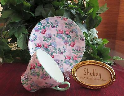 SHELLEY China   *PINK SUMMER GLORY*, #13456  Cup & Saucer     CAMBRIDGE Shape