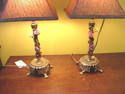 Pair Vintage Brass and Porcelain Bedroom Lamps 1930's