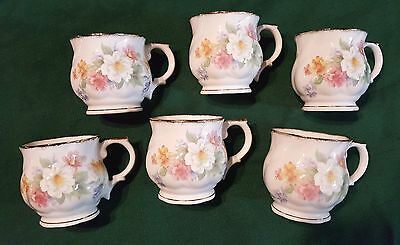 """SALE!! Set of 6 """"Royal Stanley"""" Bone China Staffordshire Footed Mugs"""