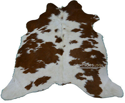 Brown & White Cowhide Rug Size: 4.7 X 4.4 ft Brown and White Cow Hide Rug j-281