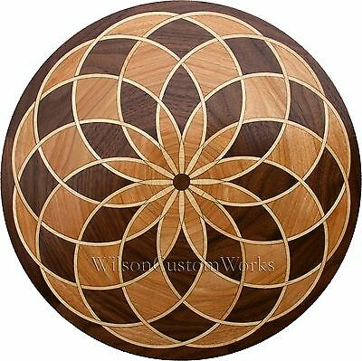 "36"" Assembled Wood Floor Medallion Inlay 145 Piece Spyro Loop Flooring Table Box"