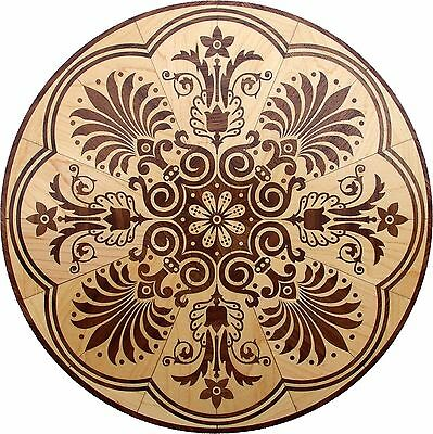 "18"" Assembled Wood Floor Medallion Inlay 406 Piece Honolulu Flooring Table"