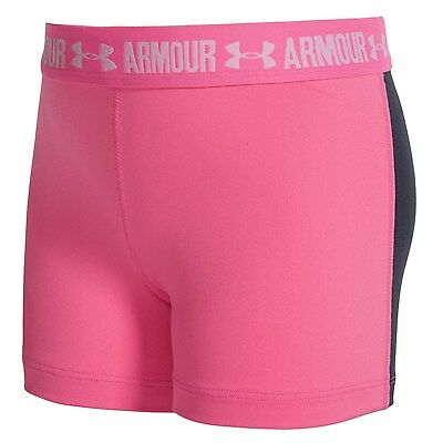Under Armour HeatGear Short Shorts  UPF 30 Youth Girls Pink Fitted Active Shorts