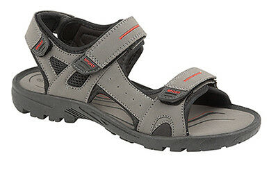 PDQ Mens Grey Vegan Leather Sports Sandals Triple Touch Fastening Size UK 8