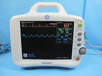 GE Dash 3000 Patient Monitor with SpO2, NIBP, ECG, Temp - Tested with Warranty