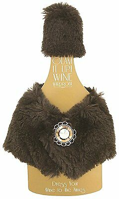 Wine Wardrobe Cover Ornate Bejeweled Magnetic Buttons Brown