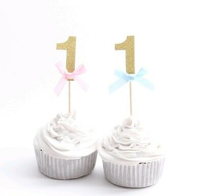 1St Birthday One Cupcake Toppers Gold Glitter First Party Boy Girl