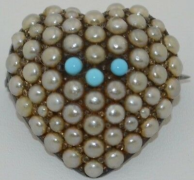 Victorian Sterling Silver Pave Seed Pearls & Persian Turquoise Heart Brooch