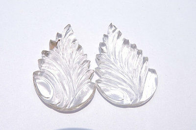 2 Pcs Extremely Beautiful Natural Rock Crystal Quartz Carved Leaves Size 37X26MM