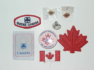 Girl Scouts Vintage Patch Badge Button Pin Lot of 8 Canada Guides