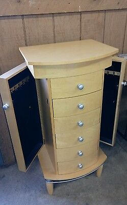 Tall Blonde Jewelry Armoire