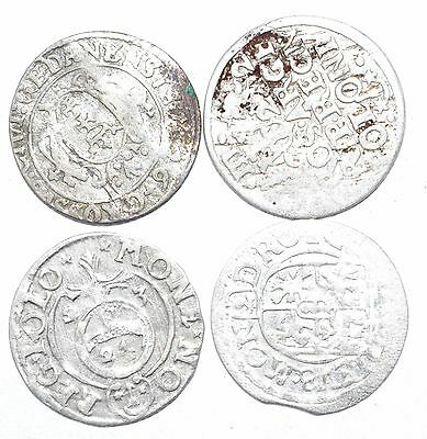 Lot Of 4 Medieval Silver Hammered Coins - Ancient Artifact Fantastic - H534