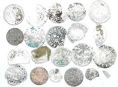 Lot Of 20 Medieval Silver Hammered Coins -Ancient Artifact Fantastic - H535