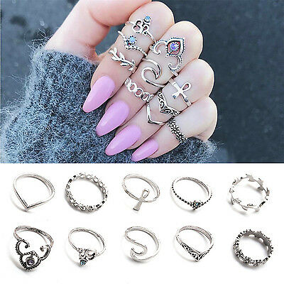Newly 10PCS Punk Vintage Women Knuckle Rings Tribal Ethnic Stone Joint Ring Set