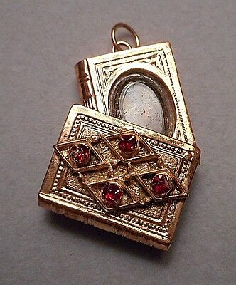 Small Antique Victorian Sentimental Gold Filled & Garnet Book Shaped Locket