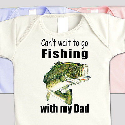 """Youth """"Can't Wait To Go FISHING with GRANDPA"""" BASS FISHERMAN T-Shirt"""
