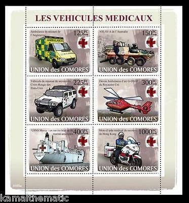 Comores MNH SS, Transport, Ambulance, Red Cross, Helicopter, Ships
