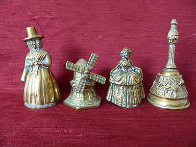Four Vintage Brass Hand Bells - Welsh & Victorian Ladies, Windmill & Another