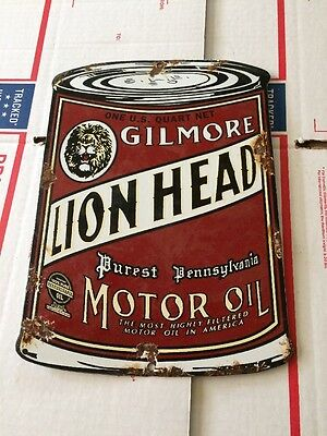 Vintage Porcelain Lion Head Gilmore Gas Pump Sign Oil Can Old Time Town Store