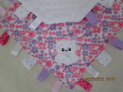 New Double Minky Pink/Lilac Flowers Owl Taggie, Security Blanket Baby Girl