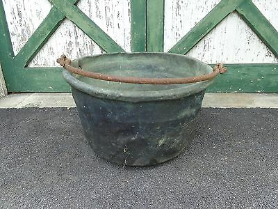 Large Antique Copper Apple Butter Kettle/Cauldron with Wrought Iron Handle