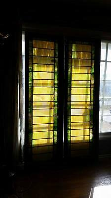 Beautiful Pair of Stained Leaded Glass Windows Over 6ft tall