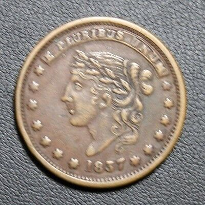 1837 Hard Times Token MILLIONS FOR DEFENSE - NOT ONE CENT FOR TRIBUTE