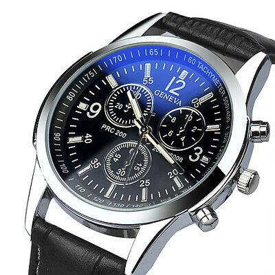 Newest Luxury Fashion Faux Leather Mens Analog Watch Watches Black New   US