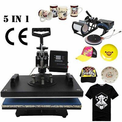 "5 In 1 15"" X 12"" Heat Press T-Shirt Transfer Sublimation Machine Mug Hat Plate"