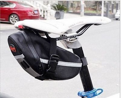 Black Waterproof Bike Cycling Saddle Bag Seat Pouch Bicycle Tail Rear Storage UK