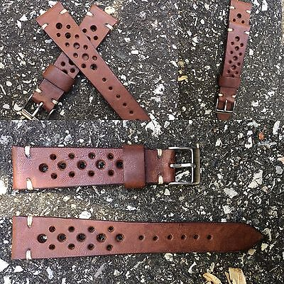 20 mm rough Brown Leather Rally Strap armband bracelet cinturino for vintage uhr