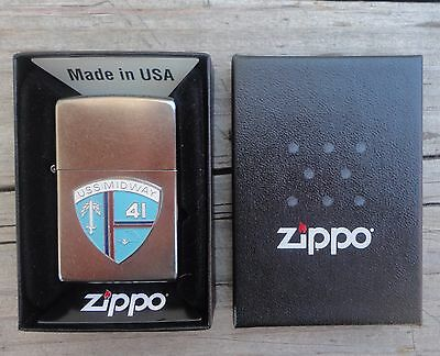 USS MIDWAY 41 ZIPPO LIGHTER CVB CVA CV UNFIRED US Navy Aircraft  Carrier NEW